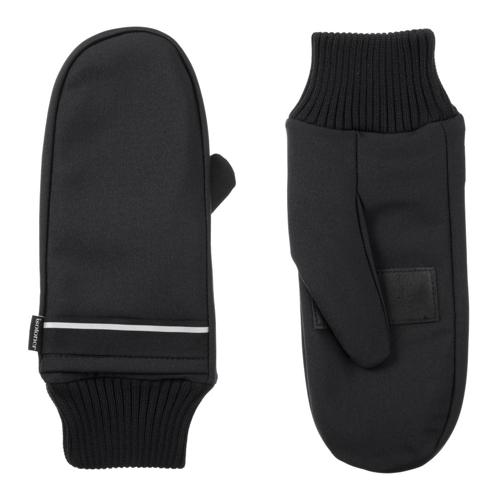 Women's Iridescent Spandex Touchscreen Mittens with Pocket Black Front and Back View