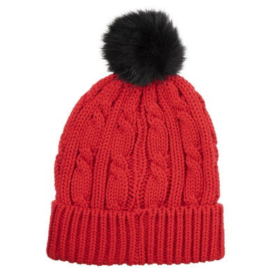 Womens soft knit beanie hat with pom in really red