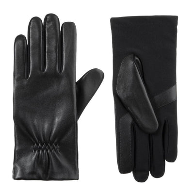 womens stretch leather glove in black