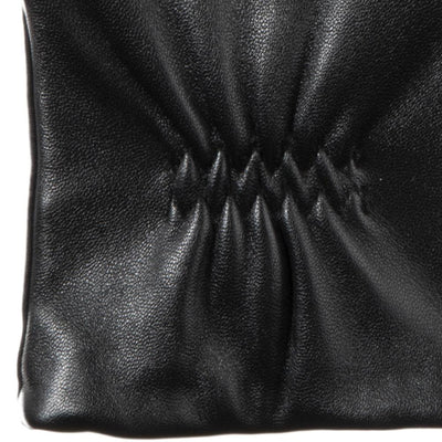 womens stretch leather glove detail shot wrist in black