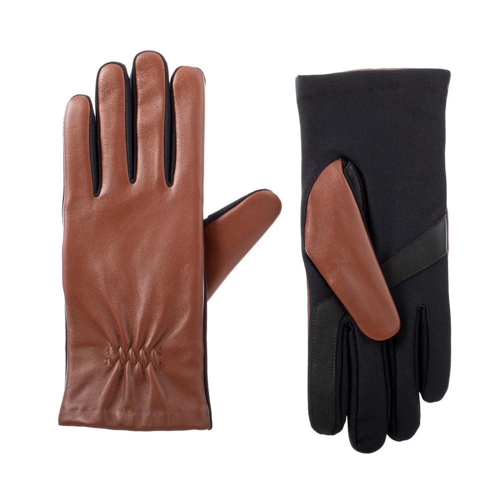 womens stretch leather gloves in caramel