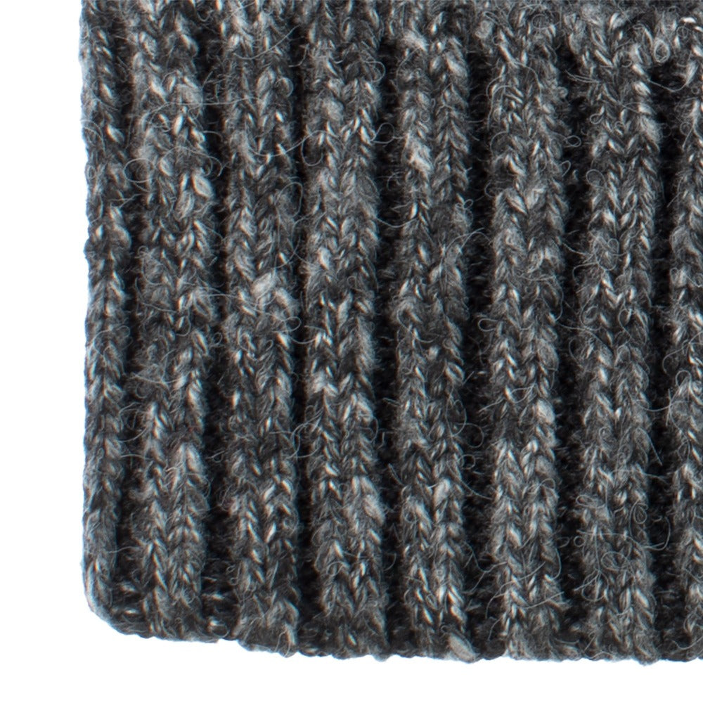 Women's Recycled Fine Gauge Knit Hat in Black Close Up on Cuff