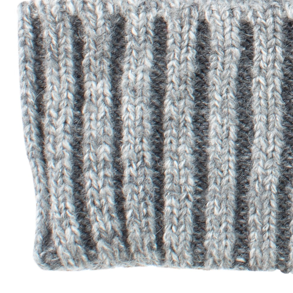 Women's Recycled Fine Gauge Knit Hat in Charcoal Heather Close Up on Cuff