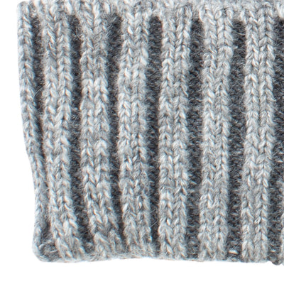 Women's Recycled Fine Gauge Knit Hat in Gray Close Up on Cuff