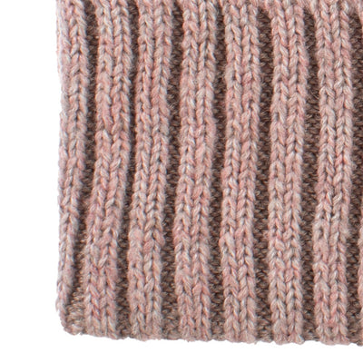 Women's Recycled Fine Gauge Knit Hat in Wild Blossom Pink Close Up on Cuff