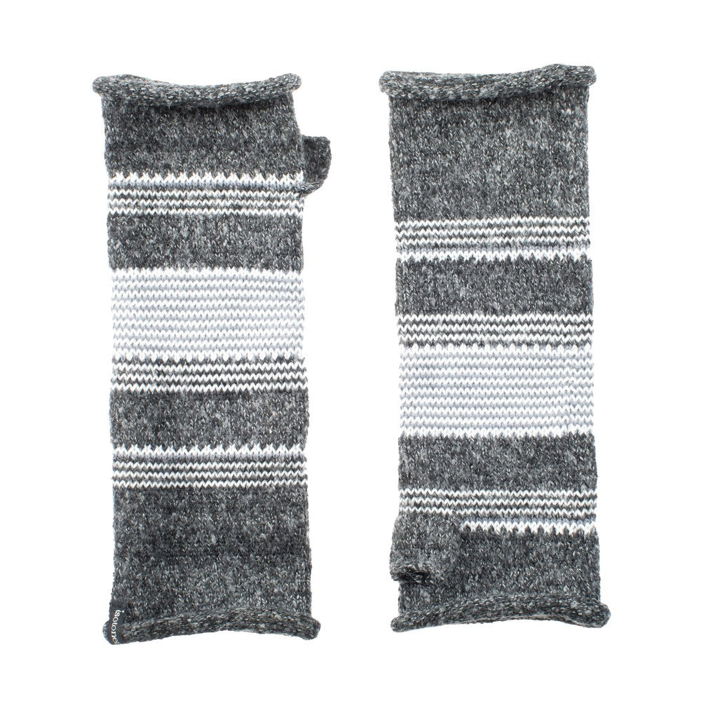 Women's Recycled Knit Fingerless Arm Warmers pair in Black with white and grey stripes side by side