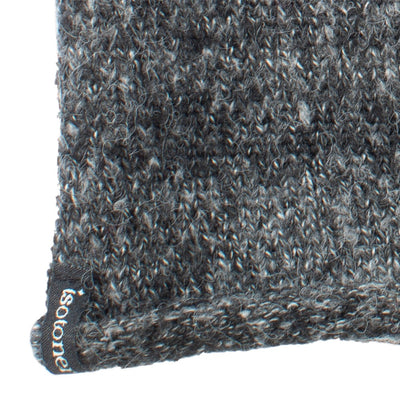 "Women's Recycled Knit Fingerless Arm Warmers in Black with white and grey stripes close up on cuff ""isotoner"" detail"