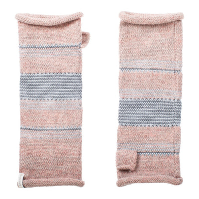 Women's Recycled Knit Fingerless Arm Warmers pair in Wild Blossom light pink with light blue and grey stripes side by side