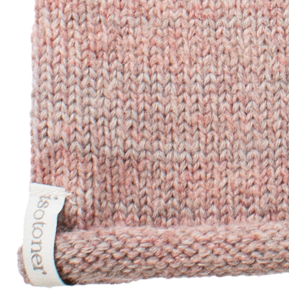 "Women's Recycled Knit Fingerless Arm Warmers in Wild Blossom light pink with light blue and grey stripes close up on cuff ""isotoner"" detail"