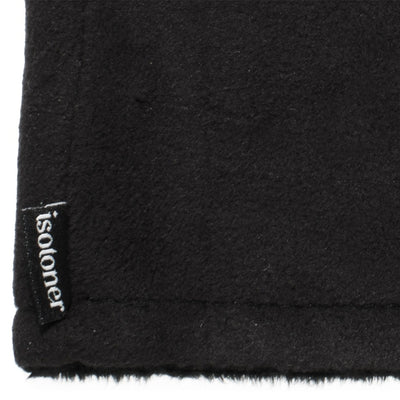 Women's Recycled Fleece Headband in Black close up on Isotoner logo