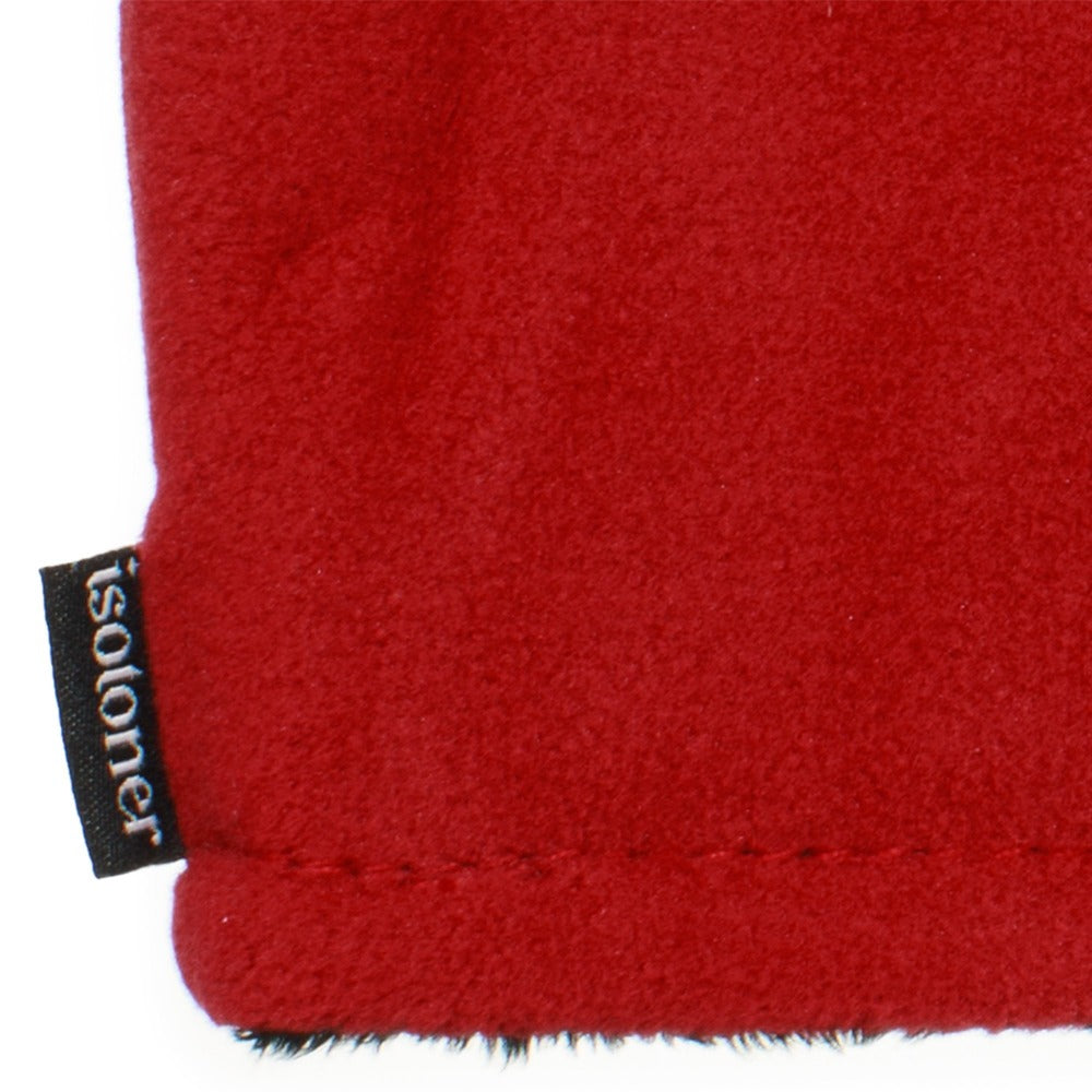 Women's Recycled Fleece Headband in Chili Red close up on Isotoner logo