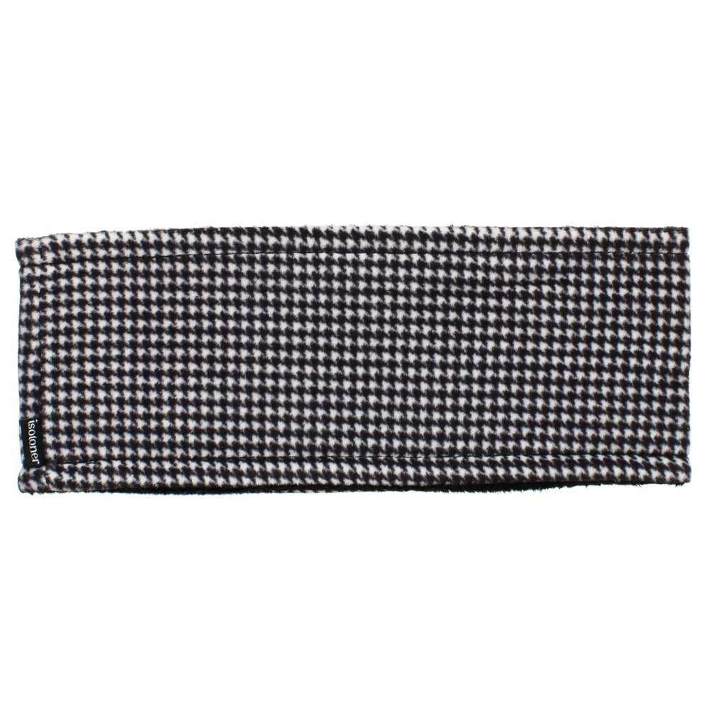 Women's Recycled Fleece Headband in Black and White Houndstooth