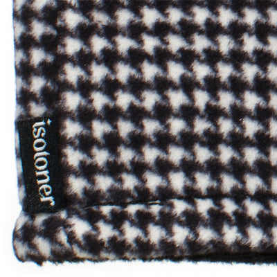 Women's Recycled Fleece Headband in Black and White Houndstooth close up on Isotoner logo