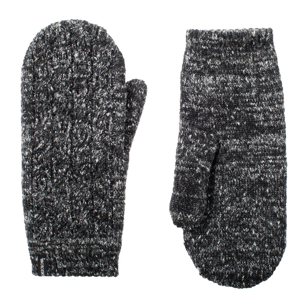 Women's Recycled Fine Gauge Cable Knit Mittens pair in Black side by side