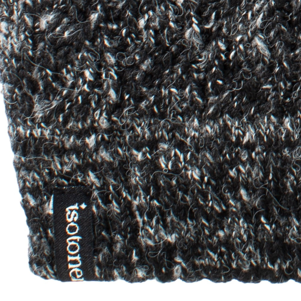 Women's Recycled Fine Gauge Cable Knit Mittens in Black close up on stripe cuff detail