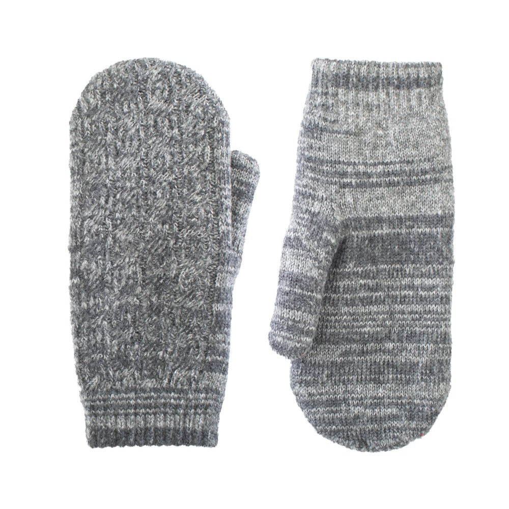 Women's Recycled Fine Gauge Cable Knit Mittens pair in Dark Charcoal Heather Grey side by side