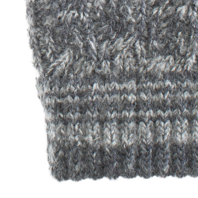 Women's Recycled Fine Gauge Cable Knit Mittens in Dark Charcoal Heather Grey close up on stripe cuff detail