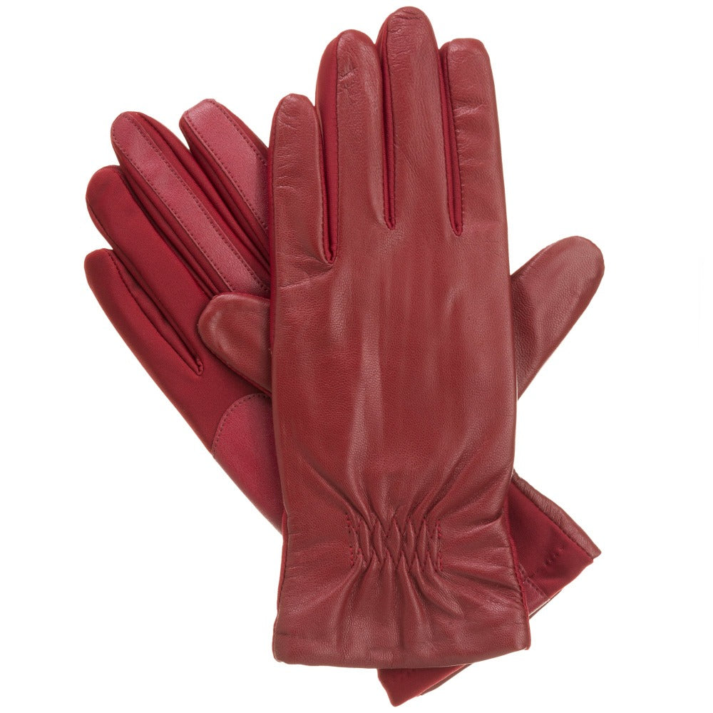 Women's Signature Stretch Leather Gloves in Really Red