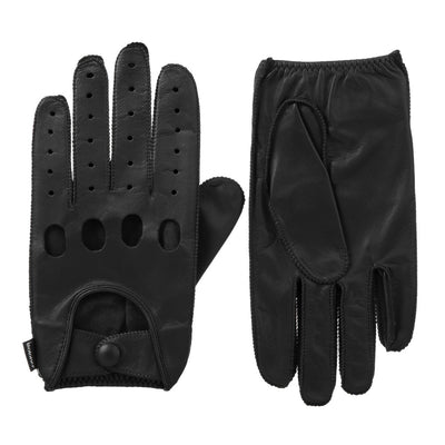 Men's Signature Smooth Leather Driving Gloves in Black Front and Back