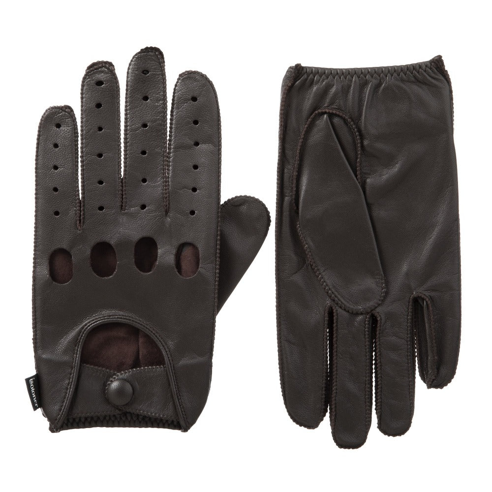 Men's Signature Smooth Leather Driving Gloves in Brown Front and Back