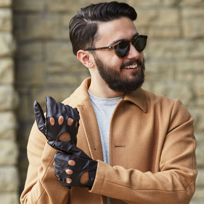 Men's Signature Smooth Leather Driving Gloves on Model