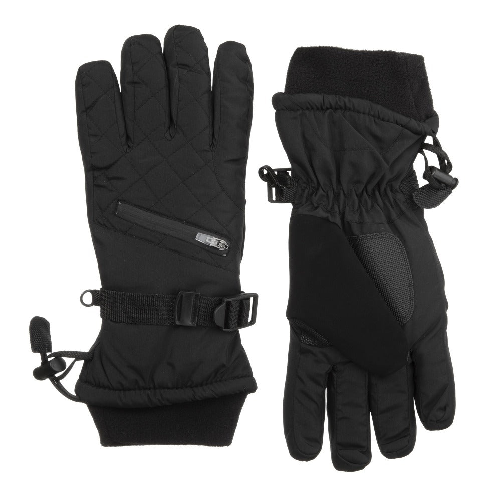 Women's Ski Gloves in Black Front and Back