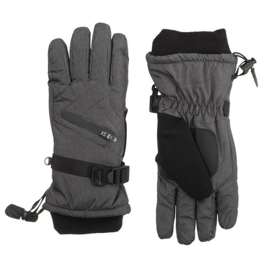 Women's Ski Gloves in Heather(Grey) Front and Back
