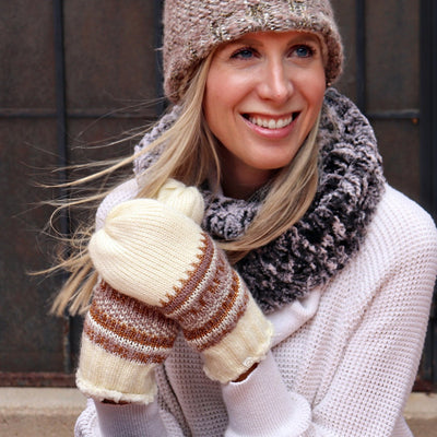 Women's Lurex Knit Mitten in Oatmeal Heather on Model
