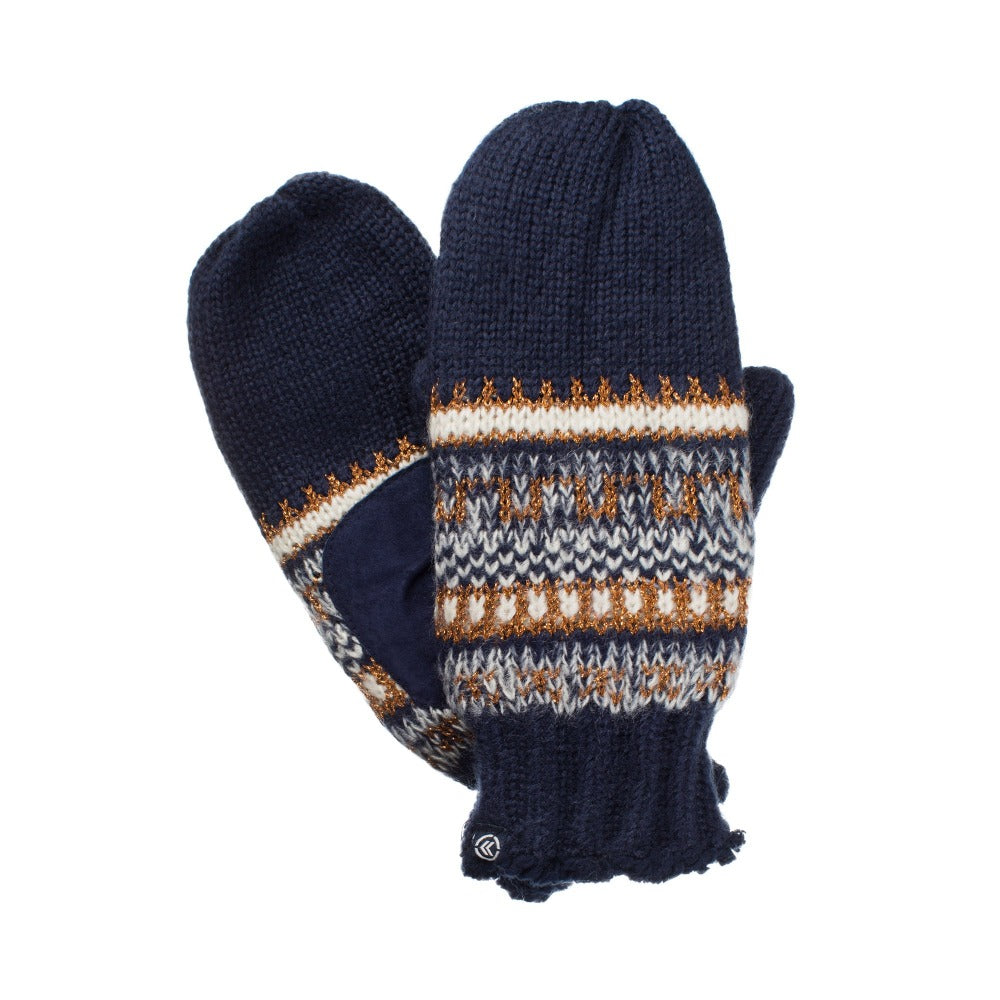 Women's Knit Mittens with Lurex Blue (Blue, Gold and White) Front and Back