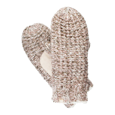 Women's Knit Mittens with Lurex Cameo Pink Front and Back