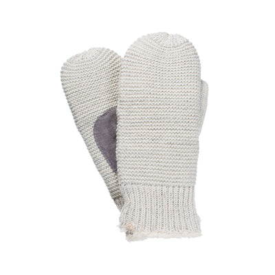 Women's Knit Mittens with Lurex in Ivory Front and Back