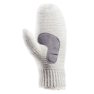 Women's Knit Mittens with Lurex  in Ivory Palm View
