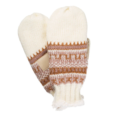 Women's Knit Mittens with Lurex  in Ivory Texture (Ivory, Pink and Gold) Front and Back