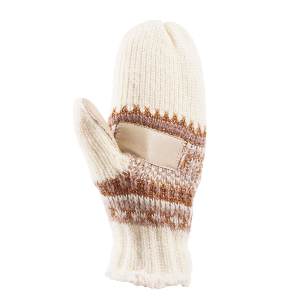 Women's Knit Mittens with Lurex  in Ivory Texture (Ivory, Pink and Gold) Palm View