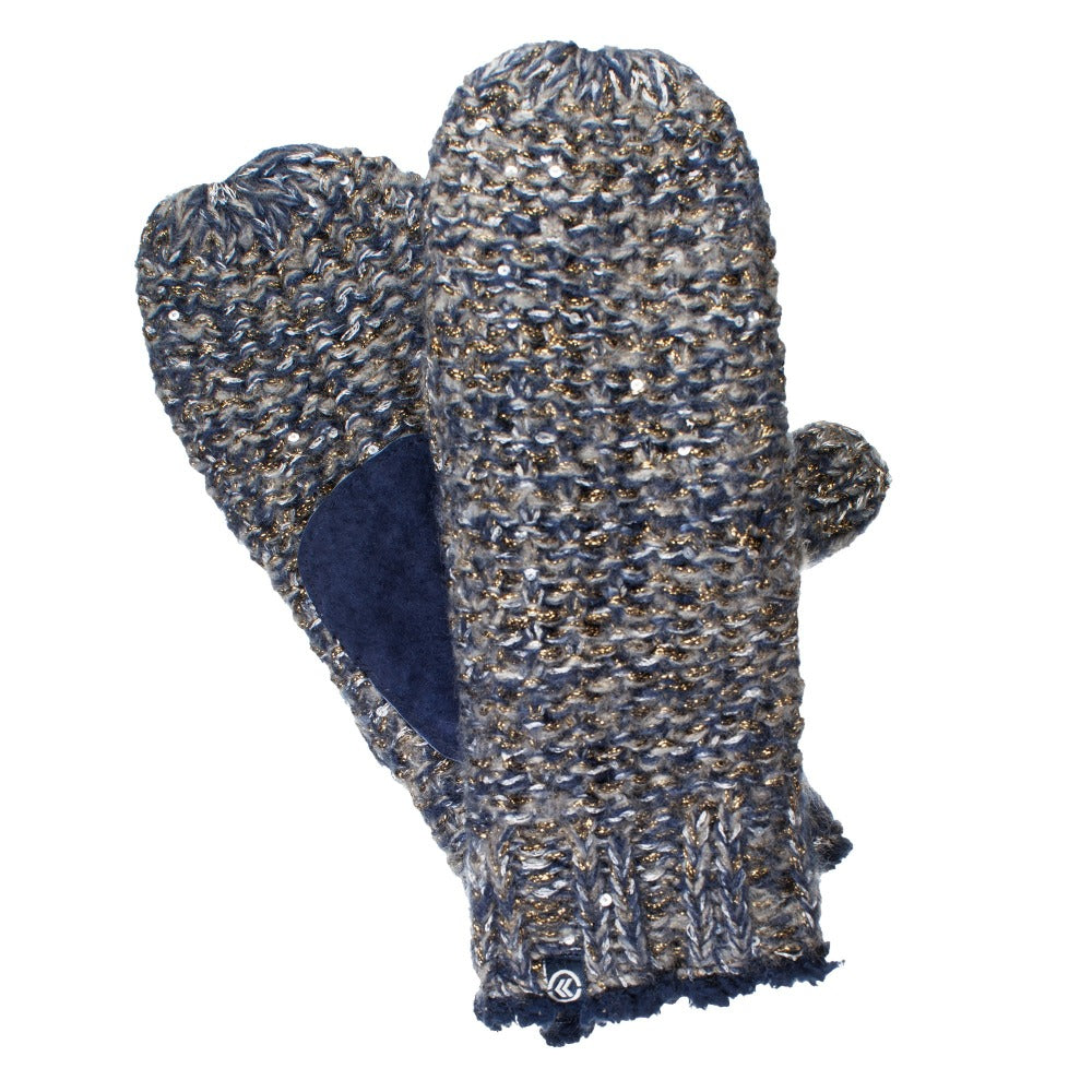 Women's Knit Mittens with Lurex  Metallic Blue Front and Back