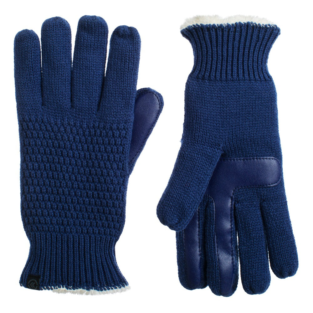 Women's Textured Knit Gloves in Navy Front and Back