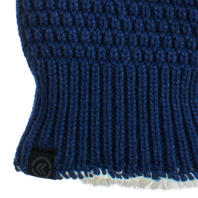Women's Textured Knit Gloves in Navy Close Up on Wrist