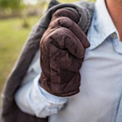 Men's Microfiber Gloves with Back Draws on Model