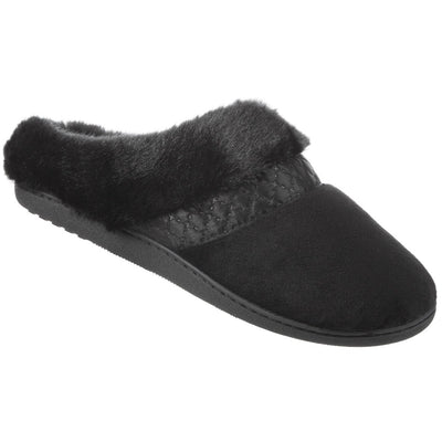 Women's Velour Diane Hoodback Slippers in Black Right Angled View