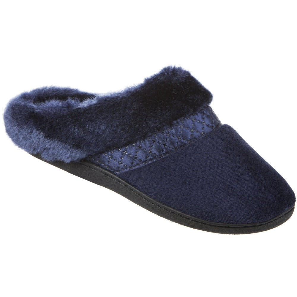 Women's Velour Diane Hoodback Slippers in Navy Blue Right Angled View