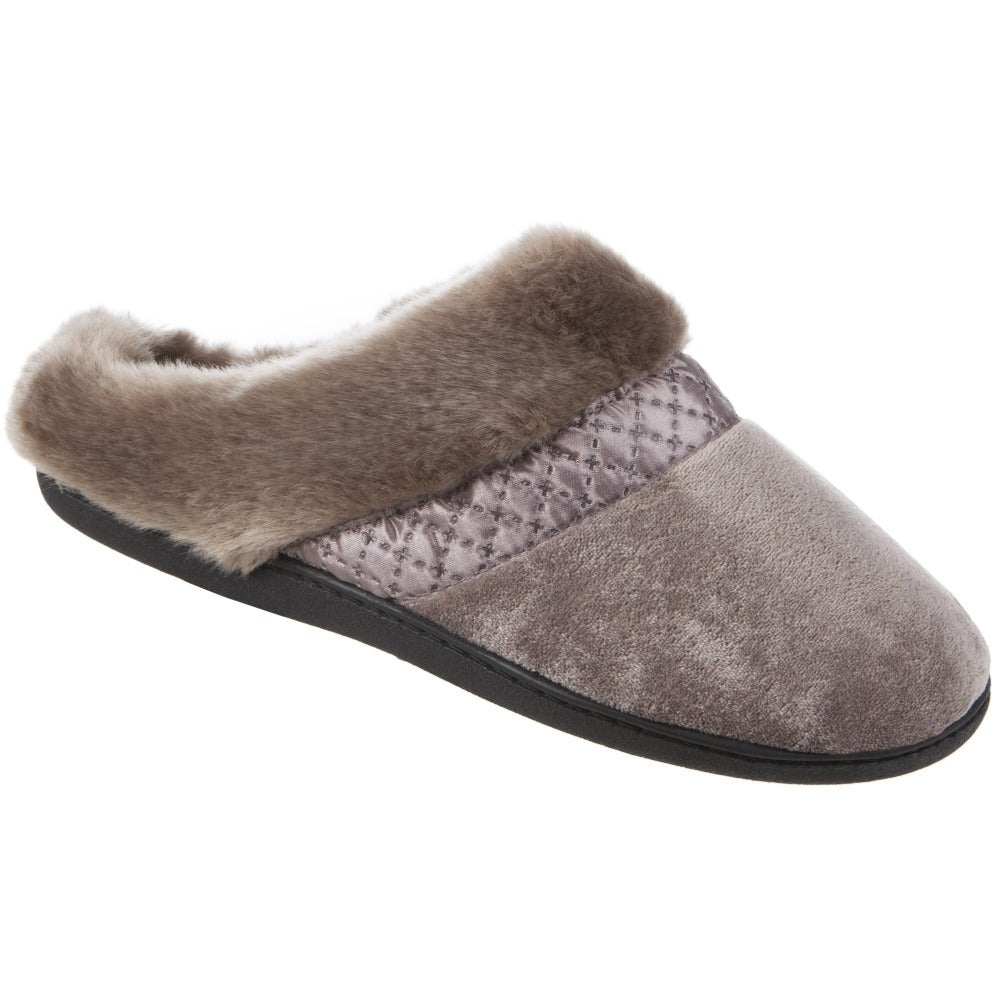 Women's Velour Diane Hoodback Slippers in Stone Right Angled View