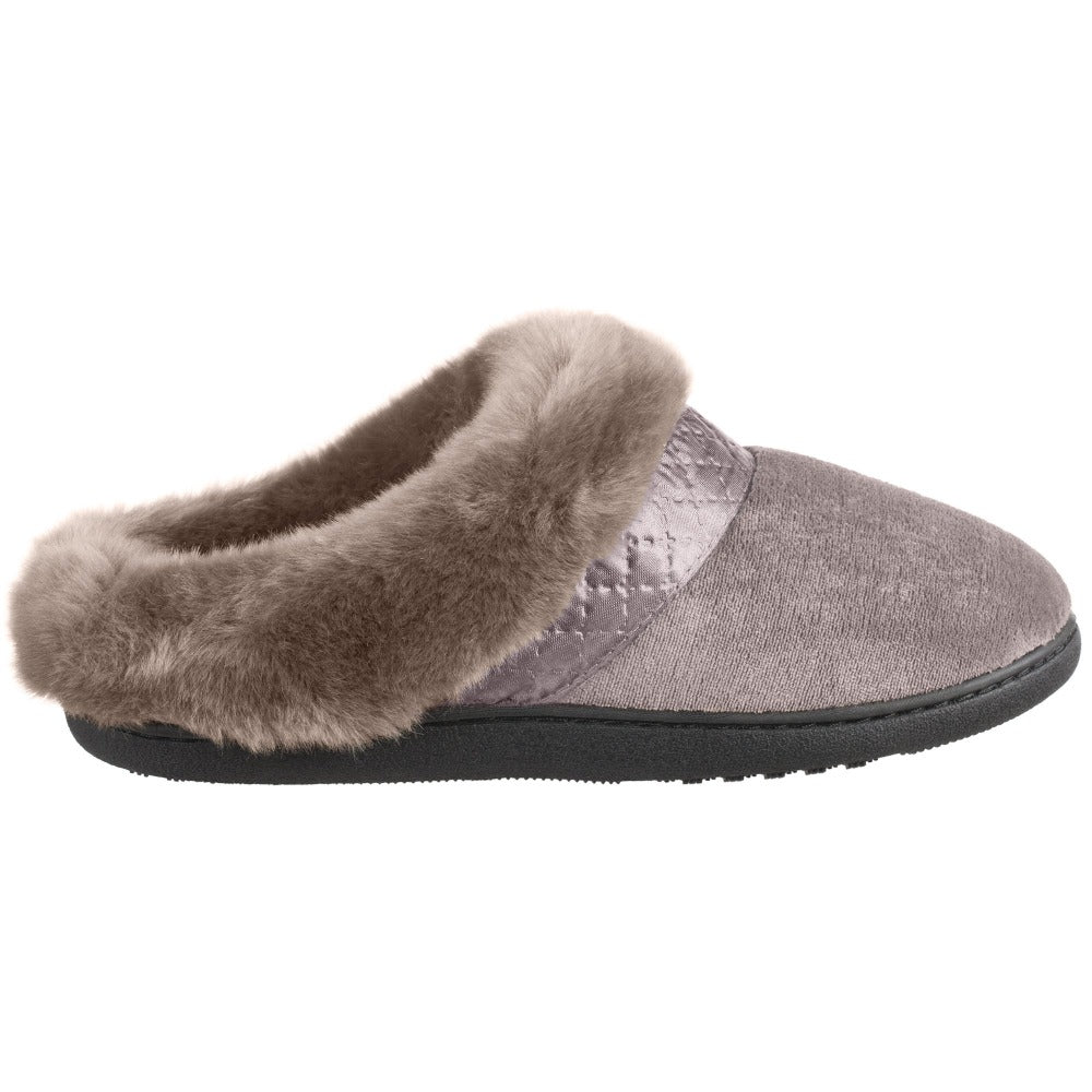 Women's Velour Diane Hoodback Slippers in Stone Profile