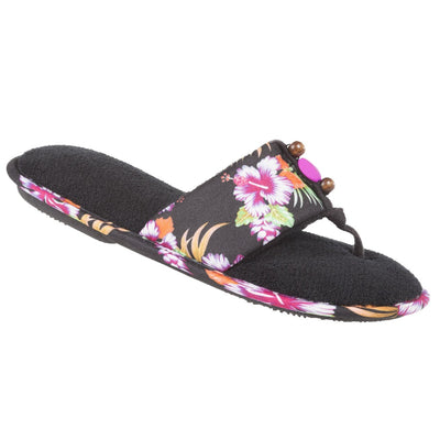 Women's Lola Aztec Print Slide Slippers in Black Multi (Tropical Flowers) Quarter View