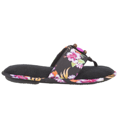 Women's Lola Aztec Print Slide Slippers in Black Multi (Tropical Flowers) Profile View