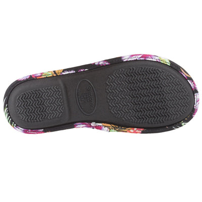 Women's Lola Aztec Print Slide Slippers in Black Multi (Tropical Flowers) Sole View