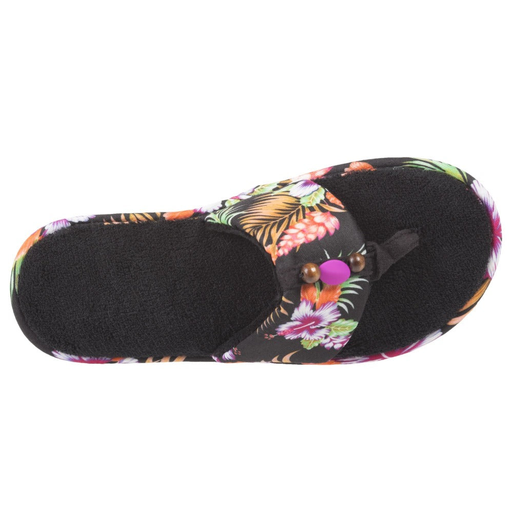 Women's Lola Aztec Print Slide Slippers in Black Multi (Tropical Flowers) Top View