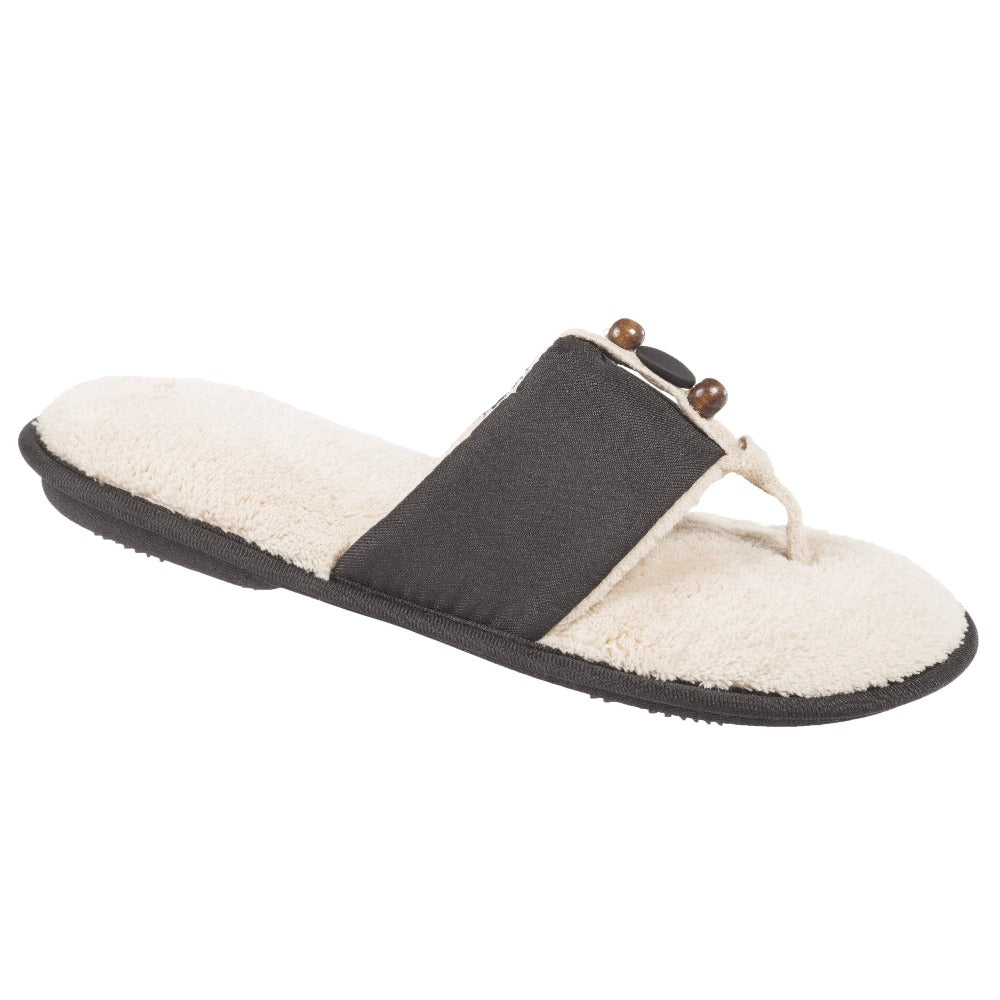 Women's Lola Aztec Print Slide Slippers in Black (Ivory Lining) Quarter View