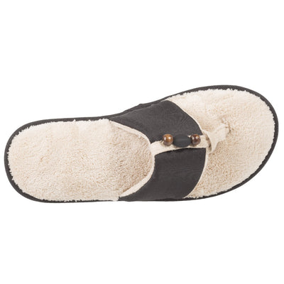 Women's Lola Aztec Print Slide Slippers in Black (Ivory Lining) Top View