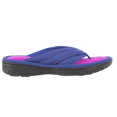 Women's Jodie Spandex Thong Slippers in Sapphire (Blue and Pink) Side Profile View