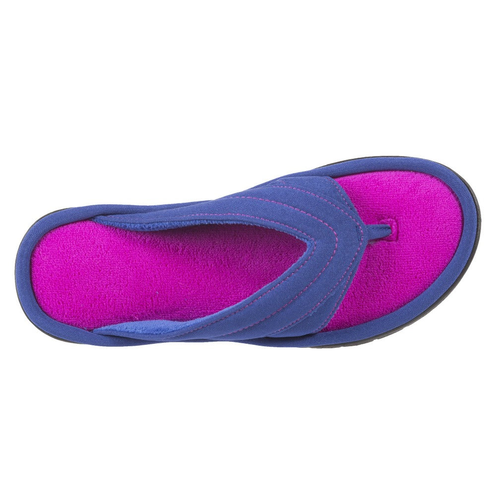 Women's Jodie Spandex Thong Slippers in Sapphire (Blue and Pink) Top View